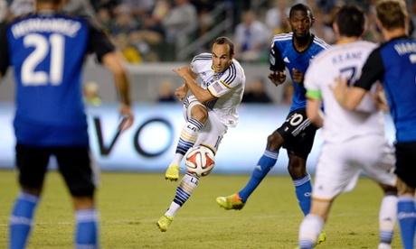 Landon Donovan of the Los Angeles Galaxy hits a shot on goal against San Jose Earthquakes.