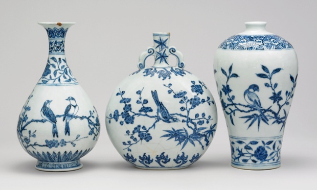 A group of blue-and-white porcelain wine vessels, 1403-24.