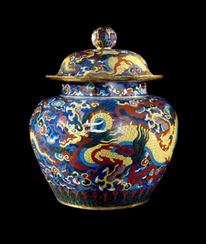 Cloisonné enamel jar and cover with dragons. Metal with cloisonné enamels, Xuande mark and period 1426-35, Beijing.