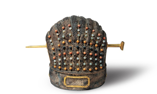 Crown. Leather, woven bamboo, lacquer and semiprecious stones. c. 1380. Shandong Museum, excavated from the tomb of Zhu Tan 1370-1389, Prince Huang of Lu at Yanzhou, Shandong province.