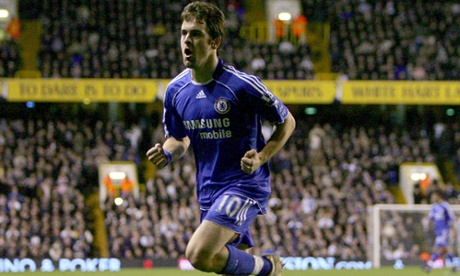 Chelsea's Joe Cole celebrates scoring his team's fourth goal at Tottenham in 2008, but it still wasn't enough to seal the win.