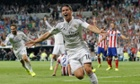 James Rodriguez of Real Madrid celebrates after scoring the opening goal