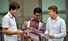 Three pupils of St Mary Redcliffe school, Bristol, celebrate their GCSE results.