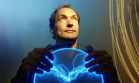 Tim Berners-Lee portrait with glowing globe