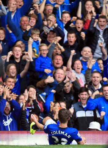 Goodison Park erupts when Everton's Seamus Coleman scores the opening goal of the game and milks the moment.