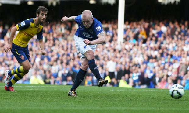 Naismith hammers a low first-time shot into the right-hand corner to score the second for Everton.