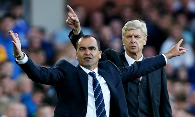 Guess which team manager is winning: Arsene Wenger or Everton manager Roberto Martinez?