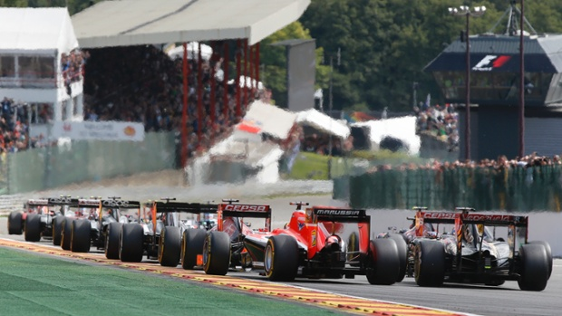 Cars line up before the green light at the start during the Belgium Formula One Grand Prix.