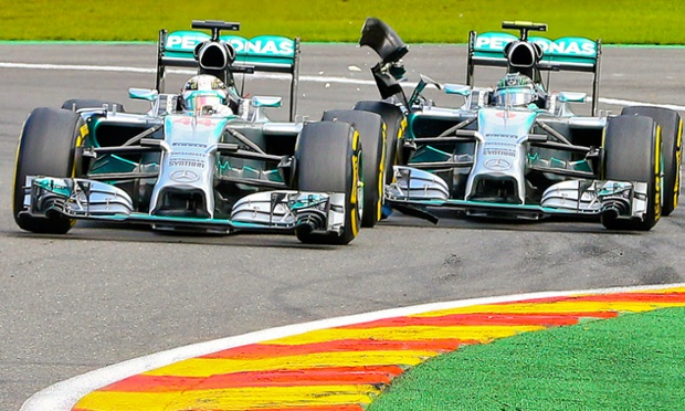 Leading his team mate Lewis Hamilton then gets clipped by Nico Rosberg deflating his rear tyre.
