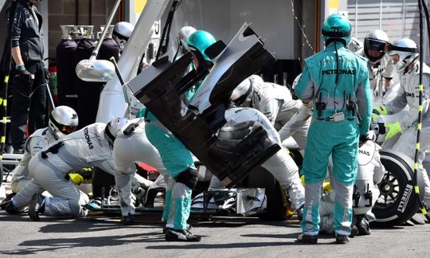 Mechanics repair Mercedes-AMG's Nico Rosberg car too.