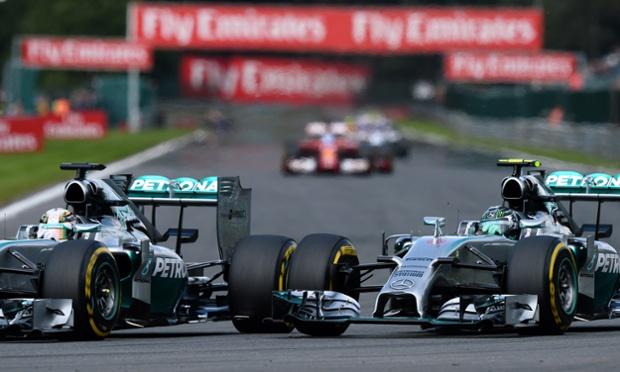 Mercedes AMG F1 team mates Lewis Hamilton tyre to tyre with Nico Rosberg.