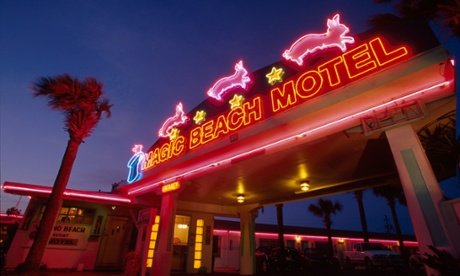 Neon sign for Magic Beach Motel, Florida, USA