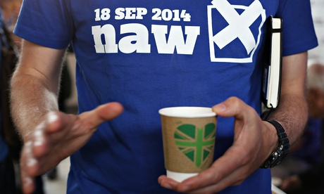 Pro-union Better Together campaign supporter wears a t-shirt urging Scots to vote no
