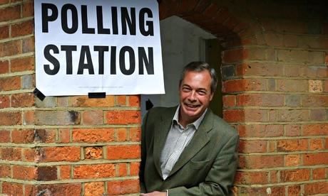 Nigel Farage at a polling station