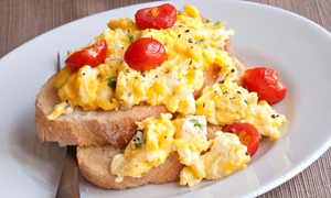 Scrambled eggs on toast. Image shot 2011. Exact date unknown.
