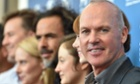 Michael Keaton with fellow cast members at the Birdman photocall in Venice