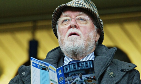 Richard Attenborough watches Chelsea play Manchester City at Stamford Bridge in 2003. Photograph: Ph