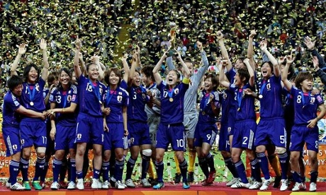 Homare Sawa lifts the Fifa Women's World Cup after Japan beat the USA in 2011.