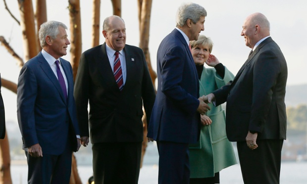 Australian Governor-General Sir Peter Cosgrove (R) greets U.S. Secretary of State John Kerry, next to (L-R) U.S. Secretary of Defense Chuck Hagel,  Australian Defence Minister David Johnston and Australian Foreign Minister Julie Bishop before the AUSMIN meeting at Admiralty House in Sydney, August 12, 2014.