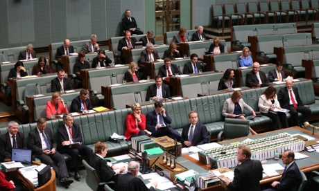 A depleted Opposition front bench after numerous expulsions during question time in the House of Representatives, Thursday 28th August 2014