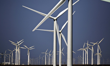 Wind turbines in China. Investment in renewable energy exceeded $250bn last year. Photograph: Carlos Barria/Reuters