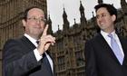 Ed Miliband, Francois Hollande, outside Westminster
