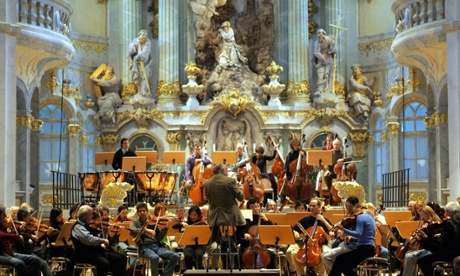 The Monte-Carlo Philharmonic Orchestra (not pictured) at the Grimaldi Forum (not  pictured). This is the New York Philharmonic Orchestra at the Frauenkirche in Dresden. I tried my best.