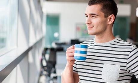 Man taking coffee break