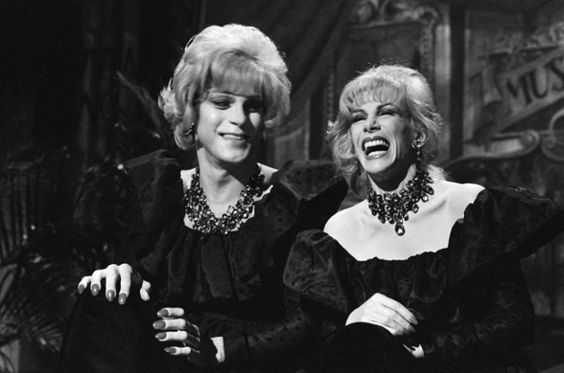 Joe Piscopo as Joan Rivers and Joan Rivers as Joan Rivers during the Joan vs. Joan skit on April 9, 1983, Saturday Night Live.