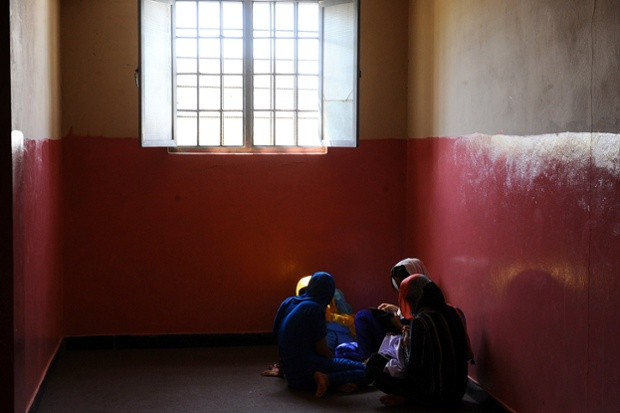 Prisoners gather in a group