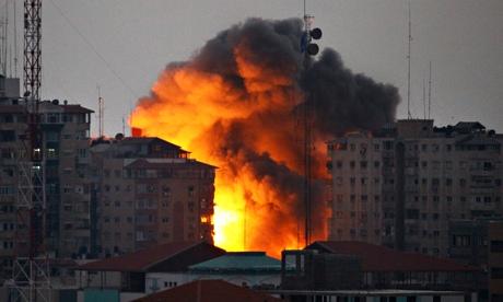 Gaza city after an Israeli sir strike