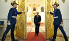 President Vladimir Putin arrives for a meeting at the Kremlin, in Moscow.