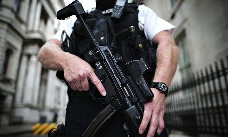 Armed police officer in Downing Street