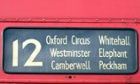 Destination board on a number 12 London Bus.