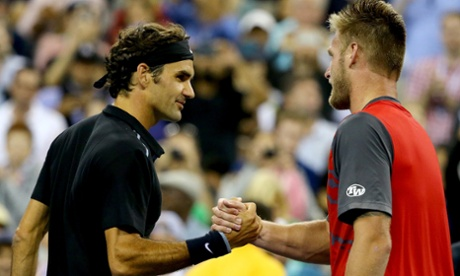 Roger Federer disposes of Sam Groth, taking 142mph serve in his stride