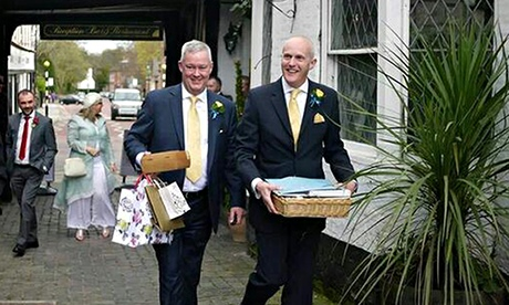The Rev Jeremy Pemberton (left) and Laurence Cunnington on their wedding day