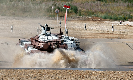 Mongolian team competes at the tank biathlon outside Moscow