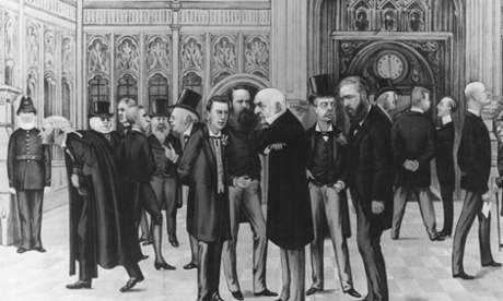 Lobby Of The Commons  circa 1886. Lobby Of The House Of Commons, including (from left to right, foreground) Joseph Chamberlain,  Charles Parnell, William Gladstone, Lord Randloph Churchill and Lord  Hartington. From Vanity Fair, 1886.