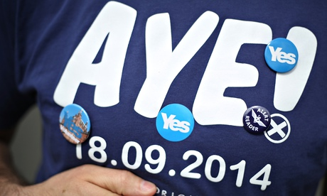 'Aye' T-shirt worn by an activist for Scottish independence