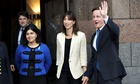 Lady Warsi with Samantha and David Cameron at the Conservative party conference in October 2011