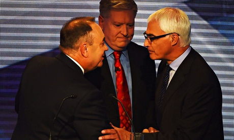 Alex Salmond and Alistair Darling at the end of the Scottish independence debate