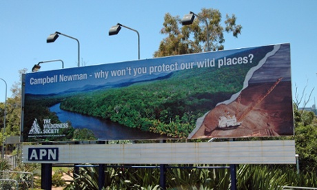 A Wilderness Society billboard in 2011 targeting Campbell Newman's opposition to the Wild Rivers legislation.