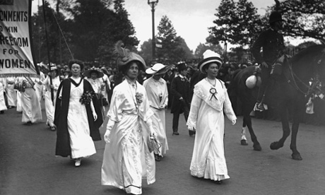 The Pankhursts: Christabel, Emmeline and Sylvia, lead a suffragette parade through London. 11 June 1911.
