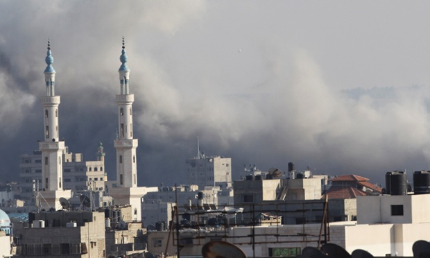 Smoke rises following what witnesses said was an Israeli air strike in Gaza City after Israeli air strikes.