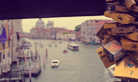 Love locks on the Ponte dell Accademia, Venice.