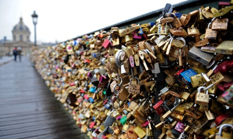 Love locks on the Pont Des Arts, Paris.