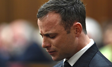 Oscar Pistorius cries as the judge delivers her verdict at the Pretoria high court in South Africa