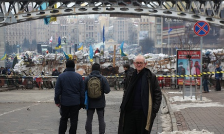 Henry Marsh stands in front of the Maidan protest in Kiev. Photograph: PR