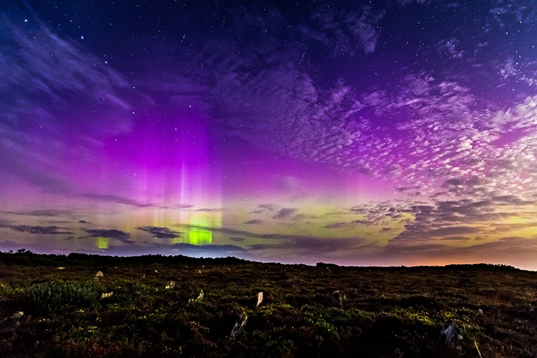 The northern lights over Caithness. Such displays - not usually seen so far south - are caused by so