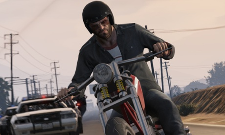 man on motorcycle, still from video game